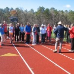 Gary Westerfield and Larry Hohler address the runners at the start of the race.