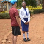 Ed with Catherine Nkatha, a Form Four student who serves as head prefect at her Girl's Secondary School.  Catharine does very well in her studies, and hopes to pass the University Entrance exam so that she can continue her studies next year.
